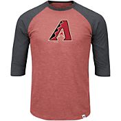 Majestic Men's Arizona Diamondbacks Red/Grey Raglan Three-Quarter Sleeve Shirt