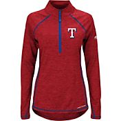Majestic Women's Texas Rangers Cool Base Red Half-Zip Pullover