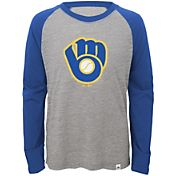 Majestic Youth Milwaukee Brewers Cooperstown Grey/Royal Raglan Three-Quarter Sleeve Shirt