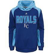 Majestic Youth Kansas City Royals Therma Base Geo Fuse Royal Hooded Fleece