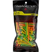 Maxfli 2.75'' Fluorescent Golf Tees – 100-Pack